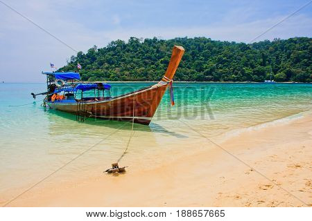 Koh Rok and longtail boat, Trang Province, Thailand