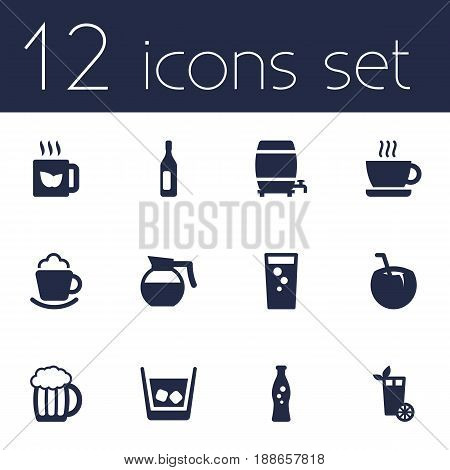 Set Of 12 Drinks Icons Set.Collection Of Cask, Cup, Lime And Other Elements.