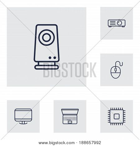 Set Of 6 Computer Outline Icons Set.Collection Of Projector, Monitor, Laptop And Other Elements.