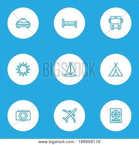 Traveling Outline Icons Set. Collection Of Plane, Canopy, Bedstead And Other Elements. Also Includes Symbols Such As Furniture, Auto, Cab.