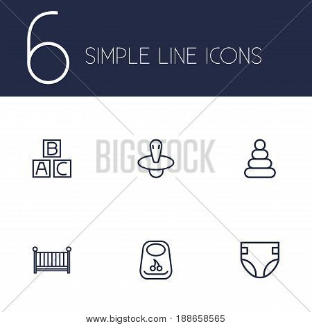 Set Of 6 Child Outline Icons Set.Collection Of Diaper, Crib, Nipple And Other Elements.