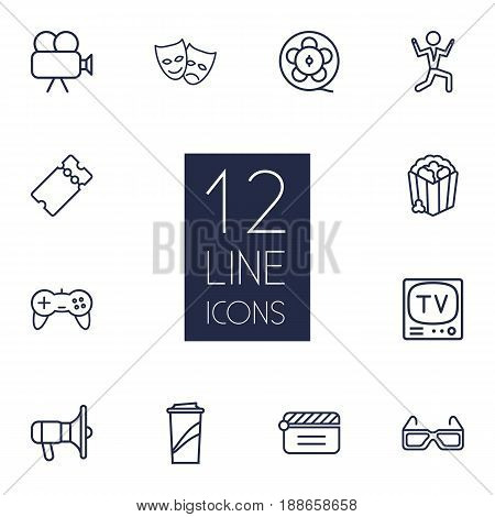 Set Of 12 Entertainment Outline Icons Set.Collection Of Tv Set, Game Controller, Film Role And Other Elements.