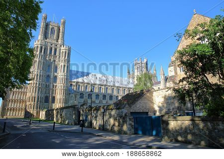 View of the South part of the Cathedral from The Gallery Street in Ely, Cambridgeshire, Norfolk, UK