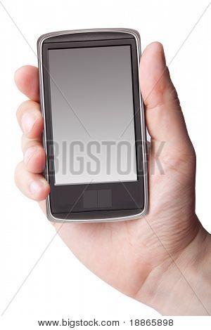 Main tenant le téléphone intelligent sur blanc
