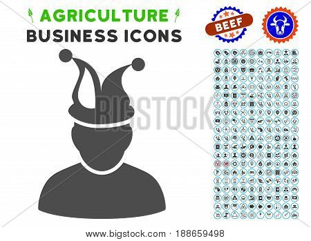 Fool gray icon with agriculture business glyph collection. Vector illustration style is a flat iconic symbol. Agriculture icons are rounded with blue circles. Designed for web and software interfaces.