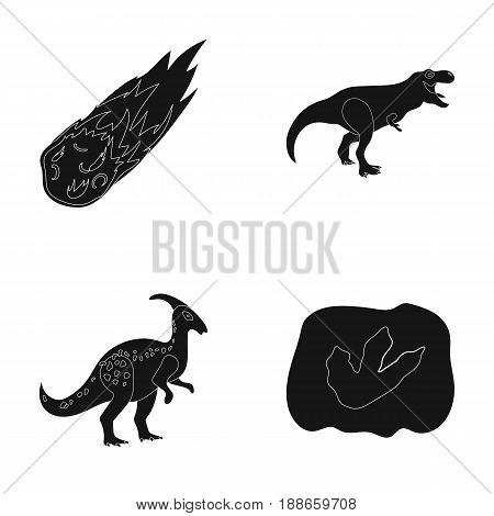 A falling meteorite, parasaurolophus, tyrannosaurus, an imprint of a dinosaur's foot. The dinosaur and prehistoric period set collection icons in black style vector symbol stock illustration .