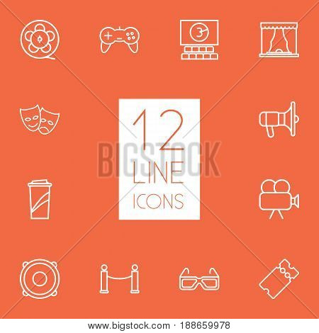 Set Of 12 Entertainment Outline Icons Set.Collection Of Speaker, Movie Cam, Game Controller And Other Elements.