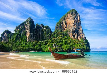 Stunning view of Railay Beach in Krabi Thailand