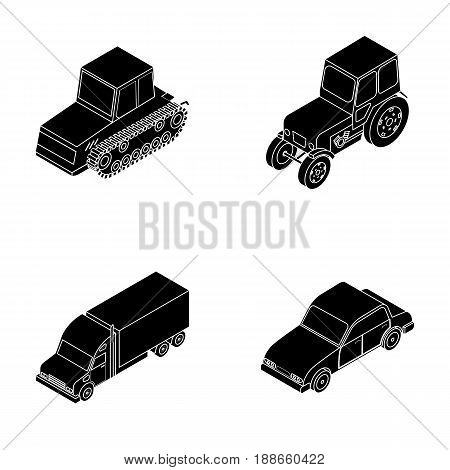 Tractor, caterpillar tractor, truck, car. Transport set collection icons in black style vector symbol stock illustration .