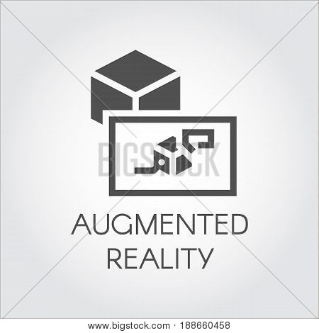 Black flat icon of device virtual augmented reality. Logo of digital AR technology future theme. Pictogram cyberspace, simulation, interactive concept for your design projects. Vector illustration