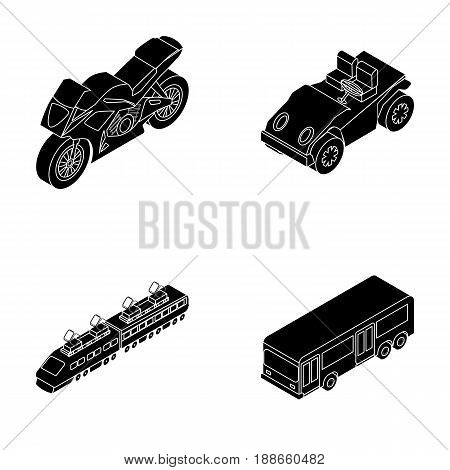 Motorcycle, golf cart, train, bus. Transport set collection icons in black style vector symbol stock illustration .