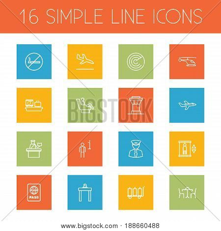 Set Of 16 Airplane Outline Icons Set.Collection Of Luggage Check, Plane, Airport Security And Other Elements.