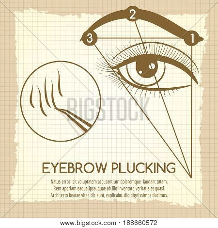 How to make ideal brow. Vector eyebrow plucking vintage style concept