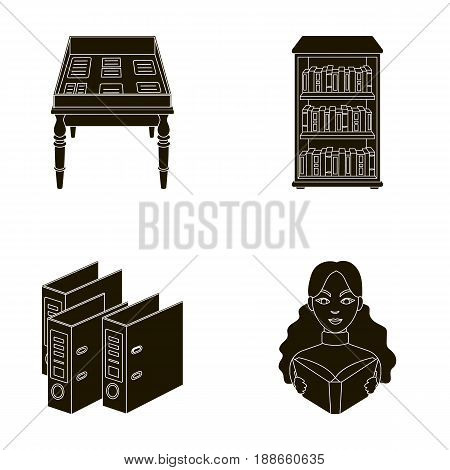 A table with old documents, bookshelves, folders, a visitor. A library and a bookstore set collection icons in black style vector symbol stock illustration .