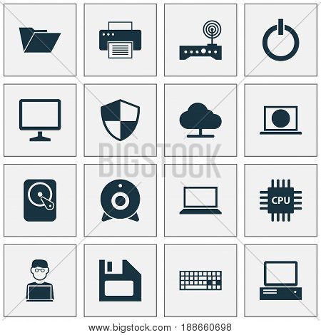 Digital Icons Set. Collection Of Keypad, Hdd, Printing Machine And Other Elements. Also Includes Symbols Such As Web, Broadcast, Shield.