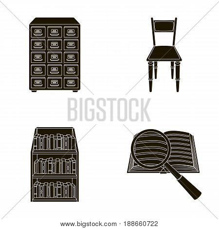 Cabinet with filing cabinet, chair, shelves, information search. Library and bookstore set collection icons in black style vector symbol stock illustration .