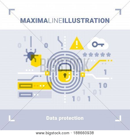 Concept of data protection. Maxima line illustration. Modern flat design. Vector composition