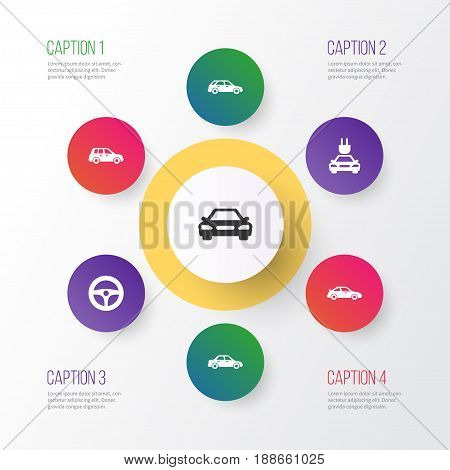 Car Icons Set. Collection Of Plug, Automobile, Auto And Other Elements. Also Includes Symbols Such As Hatchback, Sedan, Control.