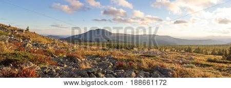 Sunset In The Mountains. The Nature Of The Southern Urals. Sunset Sky Over The Forest And Mountains.