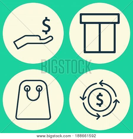 E-Commerce Icons Set. Collection Of Box, Rich, Finance And Other Elements. Also Includes Symbols Such As Shopping, Package, Rich.