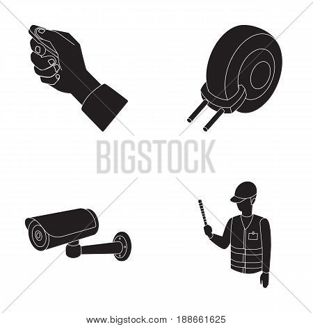 Car alarm, wheel rim, security camera, parking assistant. Parking zone set collection icons in black style vector symbol stock illustration .