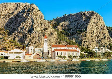 Orthodox Church At Harbor In Cetina River In Omis