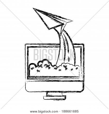 monochrome blurred silhouette of lcd monitor and paper plane vector illustration