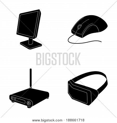 Monitor, mouse and other equipment. Personal computer set collection icons in black style vector symbol stock illustration .