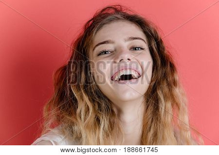Happy, Adorable Girl With Pretty Smile Smiling