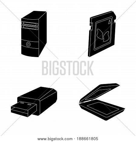 A system unit, a flash drive, a scanner and a SD card. Personal computer set collection icons in black style vector symbol stock illustration .