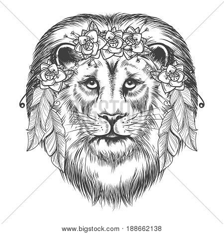 Boho style sketch lion. Vector hand drawn lion with flowers and feathers