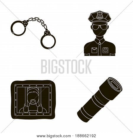 Handcuffs, policeman, prisoner, flashlight.Police set collection icons in black style vector symbol stock illustration .