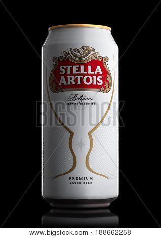 London, Uk - May 29, 2017: Alluminium Can Of Stella Artois Beer On Black. Stella Artois Has Been Bre