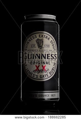 London, Uk - May 29, 2017: Alluminium Can Of Guinness Original Beer On Black. Guinness Beer Has Been