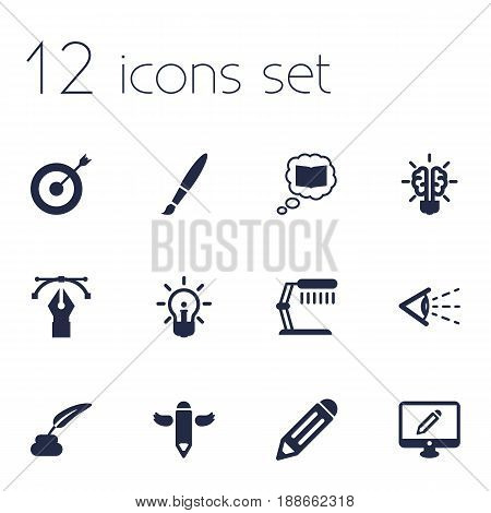 Set Of 12 Creative Icons Set.Collection Of Pencil, Bulb, Writing And Other Elements.