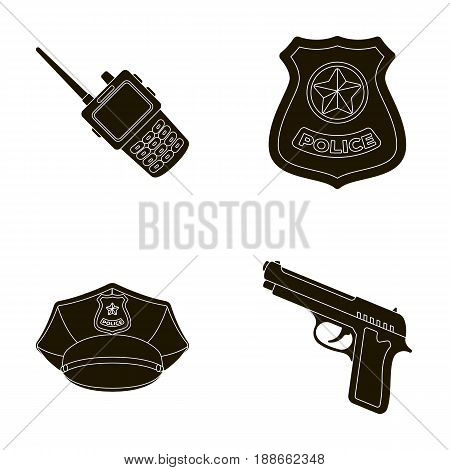 Radio, police officer s badge, uniform cap, pistol.Police set collection icons in black style vector symbol stock illustration .