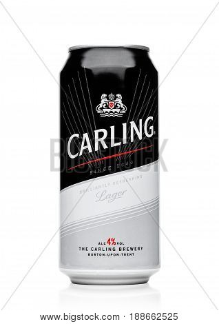 London, Uk - May 29, 2017: Aluminum Can Of Carling Lager Beer On White.