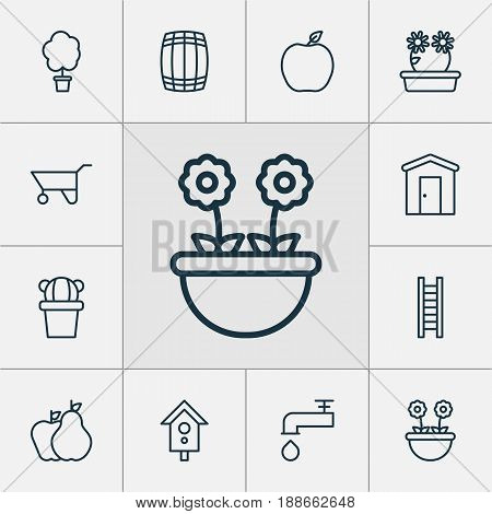 Garden Icons Set. Collection Of Desert Plant, Wheelbarrow, Nectarine And Other Elements. Also Includes Symbols Such As Farmhouse, Step, Forest.