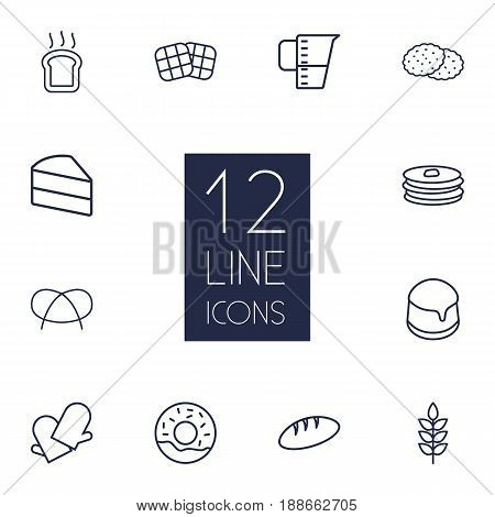 Set Of 12 Bakery Outline Icons Set.Collection Of Pancakes, Wheat, Cookie And Other Elements.