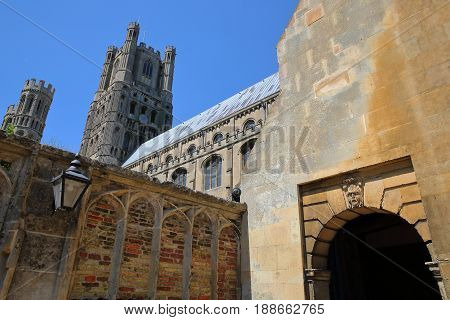 The entrance of the South part of the Cathedral of Ely in Cambridgeshire, Norfolk, UK