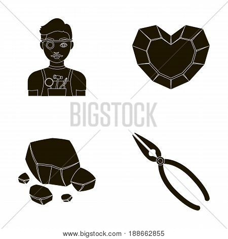 Jeweler, pliers, gold ore, garnet in the form of heart. Precious minerals and jeweler set collection icons in black style vector symbol stock illustration .