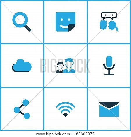 Internet Colorful Icons Set. Collection Of Friends, Share, Dialog And Other Elements. Also Includes Symbols Such As Overcast, Seek, Chat.