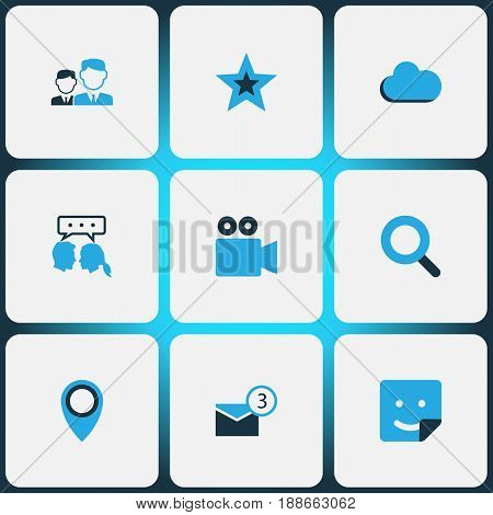 Internet Colorful Icons Set. Collection Of Video Conversation, Friends, Cloud And Other Elements. Also Includes Symbols Such As Camcorder, Cloud Sky, People.
