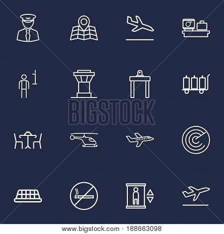 Set Of 16 Aircraft Outline Icons Set.Collection Of Luggage Trolley, Airport Security, Cafe And Other Elements.