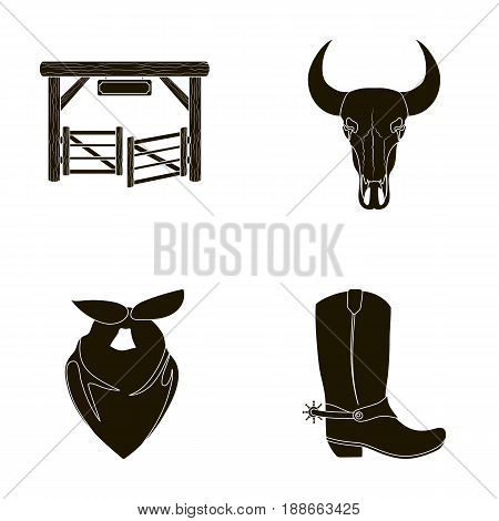 Gates, a bull's skull, a scarf around his neck, boots with spurs. Rodeo set collection icons in black style vector symbol stock illustration .