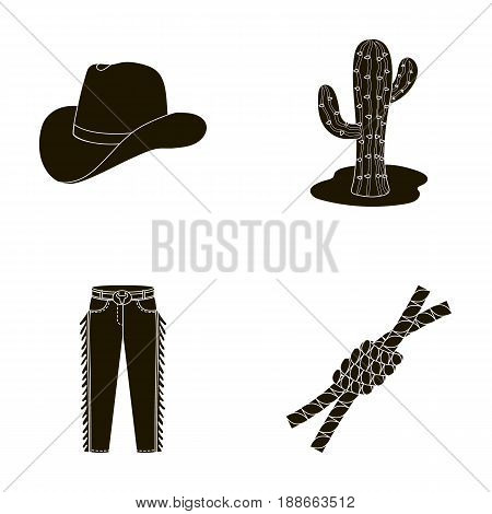 Hat, cactus, jeans, knot on the lasso. Rodeo set collection icons in black style vector symbol stock illustration .