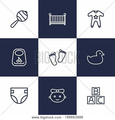 Set Of 9 Kid Outline Icons Set.Collection Of Footprints, Smock, Crib And Other Elements.