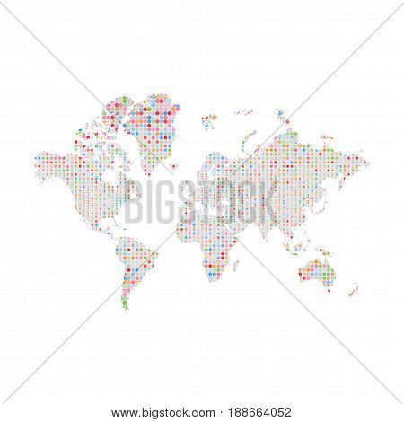 Similar Silhouette of World Map with colorful circles Pattern. Big Data vector Illustration