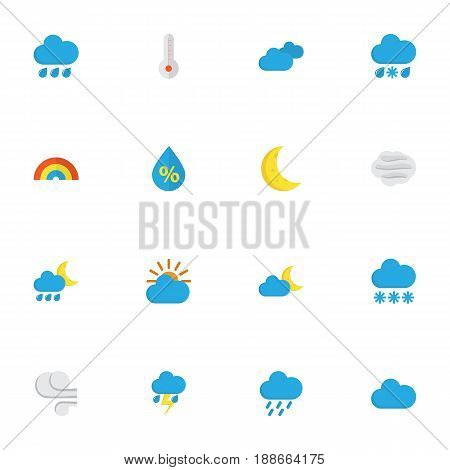 Weather Flat Icons Set. Collection Of Shower, Snow, Overcast And Other Elements. Also Includes Symbols Such As Drizzles, Windy, Rain.