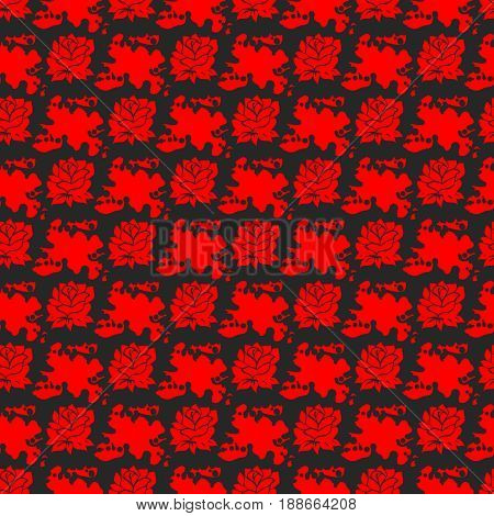 Seamless patten with red roses in inky splashes, vector illustration
